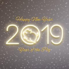 Cute pig neon logo, New year 2019 gold design, chinese horoscope symbol, vector illustration