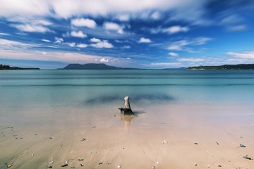 Beautiful Raspins beach conservation reserve in Orford on the east coast of Tasmania, Australia during the day.