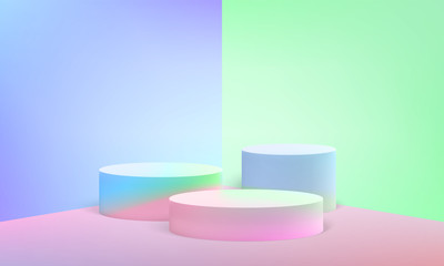 Podium scene pillar stand vector pastel background