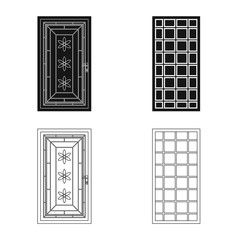 Vector illustration of door and front sign. Set of door and wooden stock vector illustration.