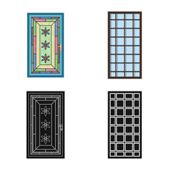 Vector design of door and front symbol. Collection of door and wooden vector icon for stock.