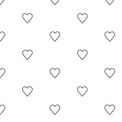 Seamless line heart pattern. Valentine heart vector pattern. Line heart vector