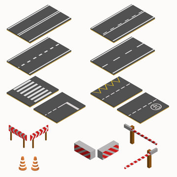 isometric road marking and barriers