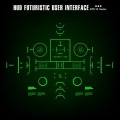 Futuristic green virtual graphic touch user interface, target