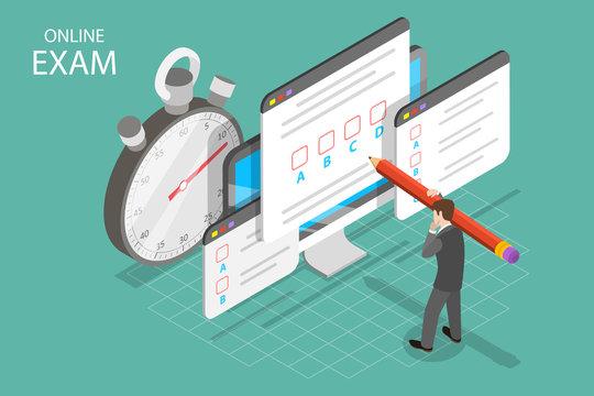 Isometric flat vector concept of online exam, questionnaire form, online education, survey, internet quiz.