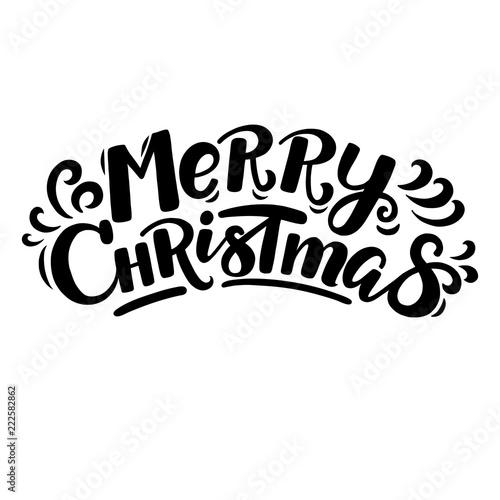 Merry Christmas Lettering.Hand Written Cartoon Style Merry Christmas Lettering For