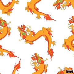 Seamless pattern Chinese red dragon.