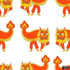 Seamless pattern Chinese dancing dragon.