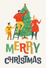 Merry Christmas greeting card with people. Family decorating a fir tree. Xmas winter poster collection.