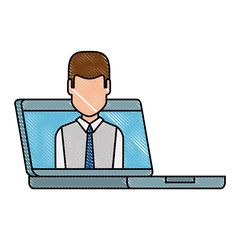 computer laptop with businessman