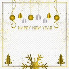 Gold and silver background with Snowflake and ball for Christmas Holiday Season 2019, Vector illustration
