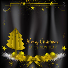 Gold and black background with Snowflake and ball for Christmas Holiday Season. Vector illustration