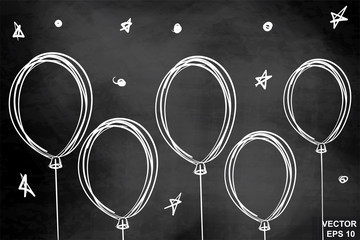 Balloons. Drawing on a chalkboard. For your design. White. Celebration.