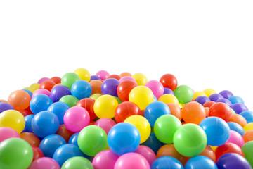 Colorful plastic balls white background