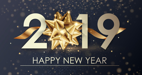 Happy New Year 2019 winter holiday greeting card design template. Party poster, banner or invitation gold glittering stars confetti glitter decoration. Vector background with