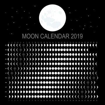 Moon calendar 2019 (English version)