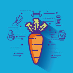 carrot with healthy lifestyle icons