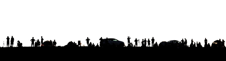 Silhouettes of people. Adventure and dreams. Panorama. Isolated on a white