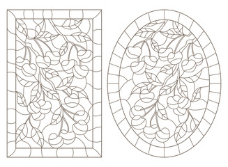 A set of contour illustrations in stained glass style with cherry tree branches, oval and rectangular image in a frame, dark contours on a white background