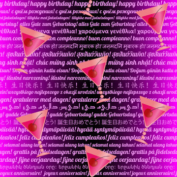 Birthday seamless pattern with glasses and text in many languages of the world
