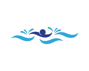 Swimming people logo vector template