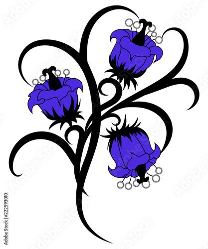 ba0fa155e Tribal blue flower tattoo illustration