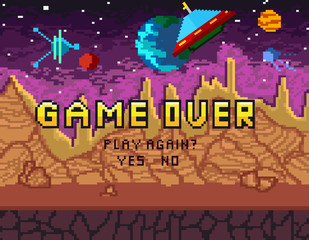 """Game over pixel art design with space background and hearts. Pixel inscription """"play again?"""" with jungle background for games, ui, posters, etc."""