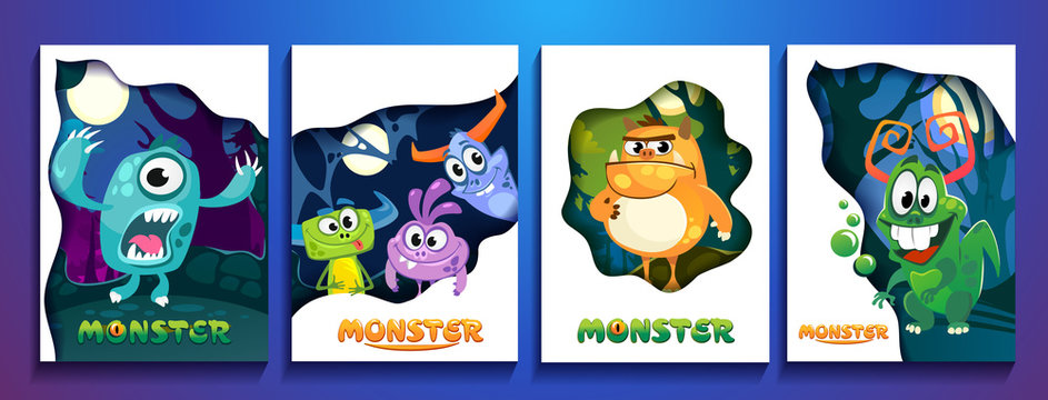 Set of cute colorful monster cards. Cartoon monsters posters for party invitation, copybooks, prints etc.