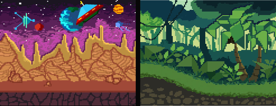 Pixel art backgrounds set. Pixel Jungle and space theme for games, posters, videos etc. Vector illustration.