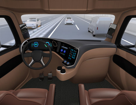 View from self-driving truck interior on highway. 3D rendering image.