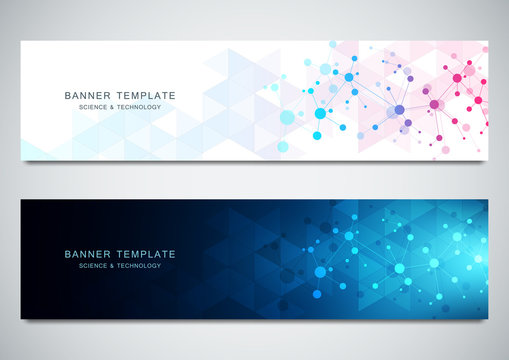Vector banners design for medicine, science and digital technology. Molecular structure background and communication with connected lines and dots.