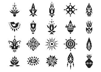 Vector set of hand drawn black african