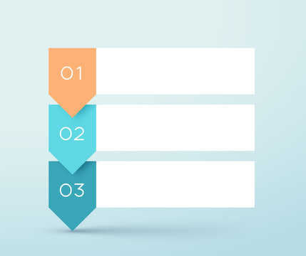 3 Step Arrow List White Banners Infographic Diagram