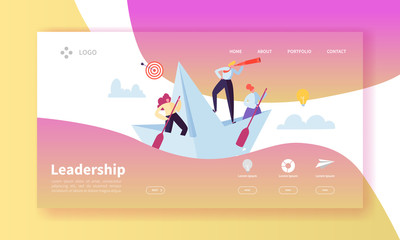 Leadership Concept Landing Page Template. Website Layout with Flat People Characters with Spyglass on Paper Ships. Easy to Edit and Customize Mobile Web Site. Vector illustration