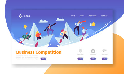 Business Challenge Concept Landing Page Template. Website Layout with Flat People Characters with Spyglass on Paper Boats. Easy to Edit and Customize Mobile Web Site. Vector illustration