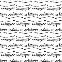 seamless pattern with black word whatever and broken arrow on white background