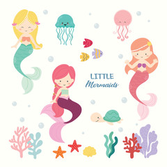 Set of cute mermaids vector.