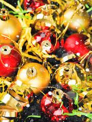 Closeup of Christmas tree balls decorations, pattern abstract.