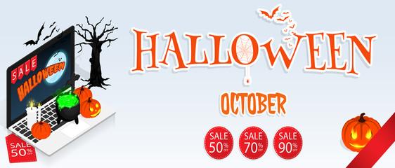 isometric halloween online sale banner vector