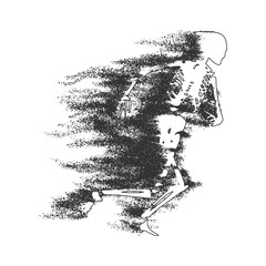Human skeleton running. Particles trail. Halloween party design template