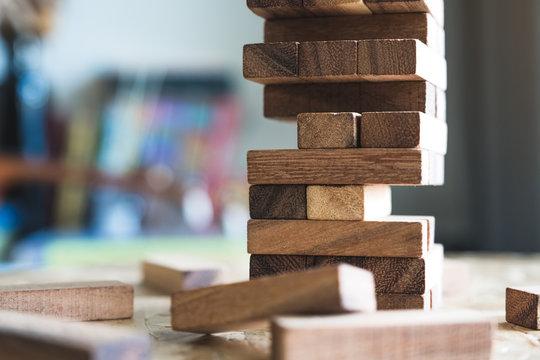 Closeup image of a Jenga or Tumble tower wooden block game