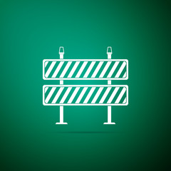 Road barrier icon isolated on green background. Symbol of restricted area which are in under construction processes. Fence of building or repair works sign. Hurdle icon. Vector Illustration