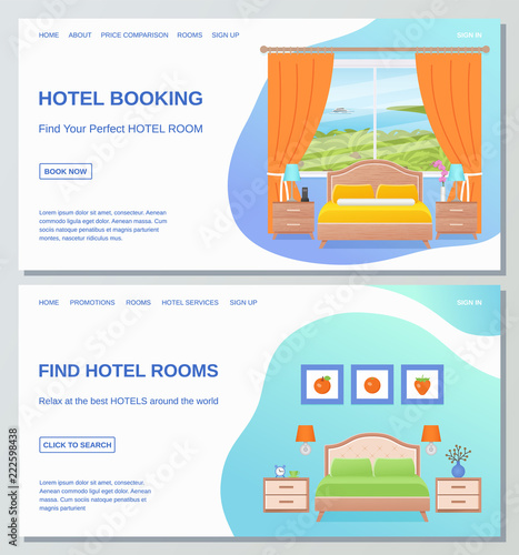 88d49ae769d7 Hotel room web page design templates. Vector. Hotel booking, find room  banner,