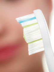 Detailed closeup of clean toothbrush