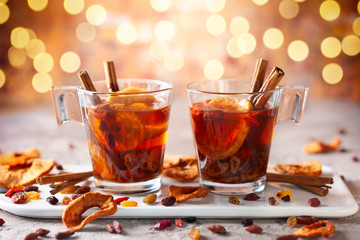 Photo sur Aluminium The Drink with dried fruits and berries