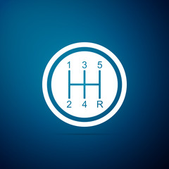 Gear shifter icon isolated on blue background. Transmission icon. Flat design. Vector Illustration
