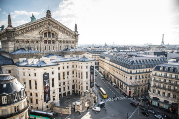 View of Paris Opera House and Eiffel Tower from Galerie Lafayette