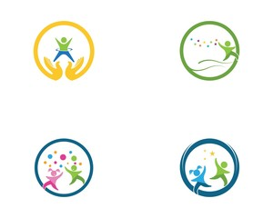 Happy kids logovector template