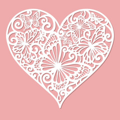 A template for laser cutting. Openwork heart made of butterflies. For cutting from paper, wood, metal. Vector