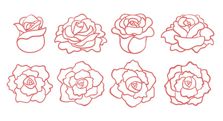 Set of outline roses blooms isolated on white background. Top and side view. Vector hand drawn illustration